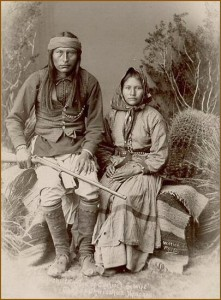 Naiche with his wife, Ha-o-zinne. (Courtesy of Smithsonian Institute National Anthropological Archives)
